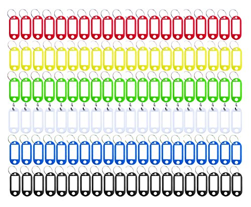 (Key Tag 120 Pcs Assorted Color Plastic Coded Key ID Label Tags Split Ring Keyring - with Label Window Ring Holder)