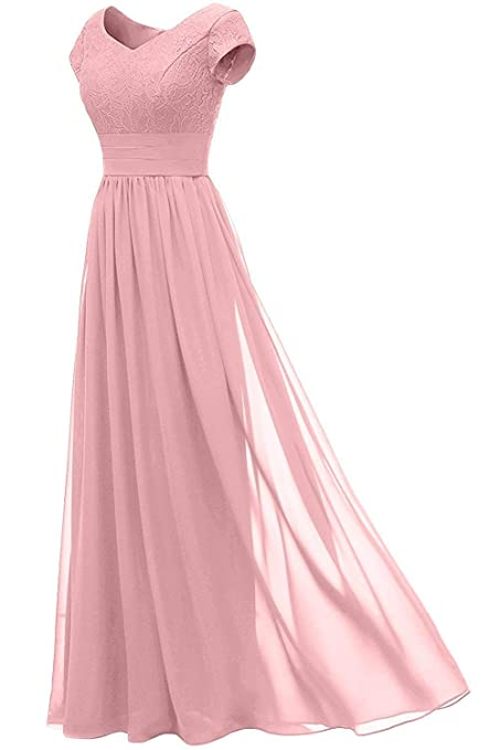 afb4b1fab77 DINGZAN Chiffon Evening Formal Dresses Bridesmaid Gowns Long with Sleeve at  Amazon Women s Clothing store