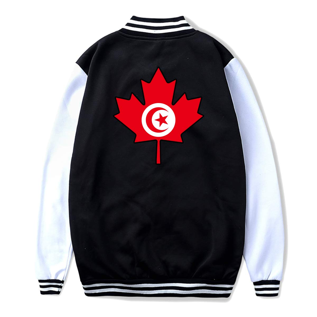 Back Print Unisex Youth Baseball Uniform Jacket Tunisia Flag Canada Maple Leaf Hoodie Sweatshirt Sweater Tee