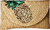 Betsey Johnson Pineapple Straw Clutch, Gold