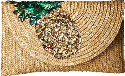 Betsey Johnson Pineapple Straw Clutch, Gold by Betsey Johnson
