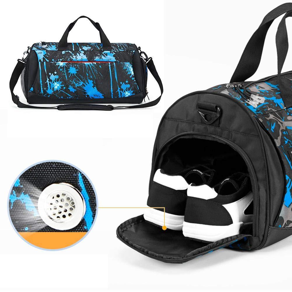 スポーツジムバッグ メンズ トラベルダッフルバッグ ショルダー クロスボディ ポータブル トレーニングバッグ 女性 シリンダー ヨガバッグ 分離ドライ&ウェット。  ウオーターブルー B07H4T6YJF