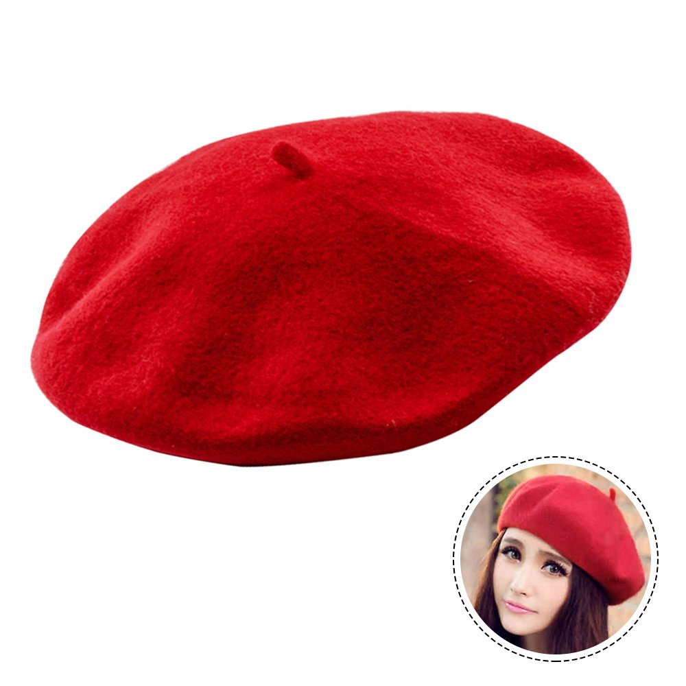 Seacan 100% French Wool Beret French Beret Hat Classic Solid Color Beret Beanie For Women Girls- Lightweight Casual Cap-Red/Black/Navy Blue (Red)