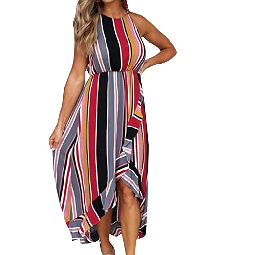c1594de8404 Women Holiday Stripe Ruffles Casual Long Halter Sexy Beach Bohe Floral  Print Strappy Maxi Dress Sundress at Amazon Women s Clothing store