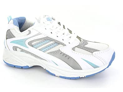 3d151769166b Ladies White and Blue Textile and PU Lace Up Jogger - Tiffany - White Blue  - size UK Ladies Size 3  Amazon.co.uk  Shoes   Bags