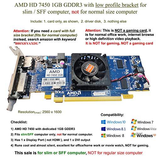 AMD Radeon HD 7450 1GB / 1024MB Low Profile Graphics Card Fits Slim / SFF Size Computer