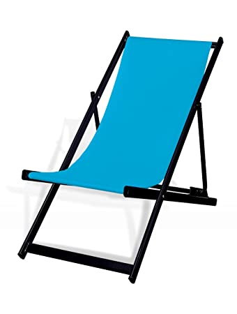 Liegestuhl Klappbar Aluminium Sitzbezug Hellblau Schwarz