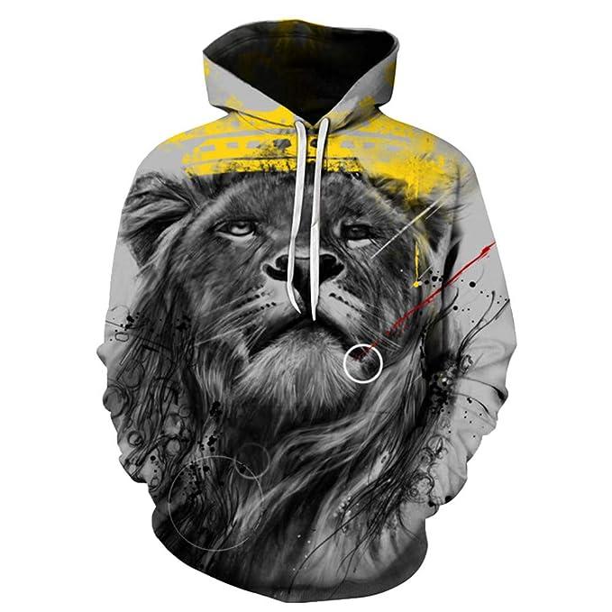 Sylar Sudaderas Hombre 2018 Tendencia De Moda Impresión 3D León con Capucha Manga Larga Suelto Bolsillo Abrigo Jersey Outwear Tops M-5XL: Amazon.es: Ropa y ...