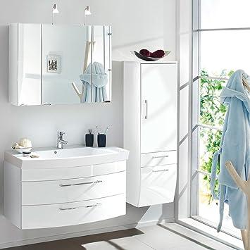 Badezimmermöbel Alius 26 Weiß Hochglanz mit LED Beleuchtung Set