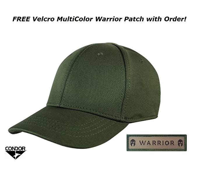 Condor Flex Tactical Team Cap (OD Green) + FREE Warrior Patch, Fitted Plain  / Blank