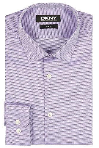DKNY Slim Fit Violett Knopfmanschette Textur Hemd