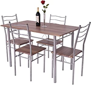 Giantex Modern 5 Piece Dining Table Set for 4 Chairs Wood Metal Kitchen Breakfast Furniture (Shallow Walnut)