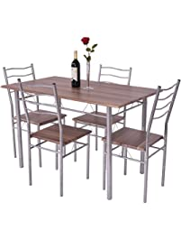 giantex modern 5 piece dining table set - Breakfast Table With Chairs