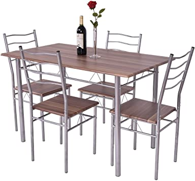 Amazon Com Giantex Modern 5 Piece Dining Table Set For 4 Chairs Wood Metal Kitchen Breakfast Furniture Shallow Walnut Table Chair Sets