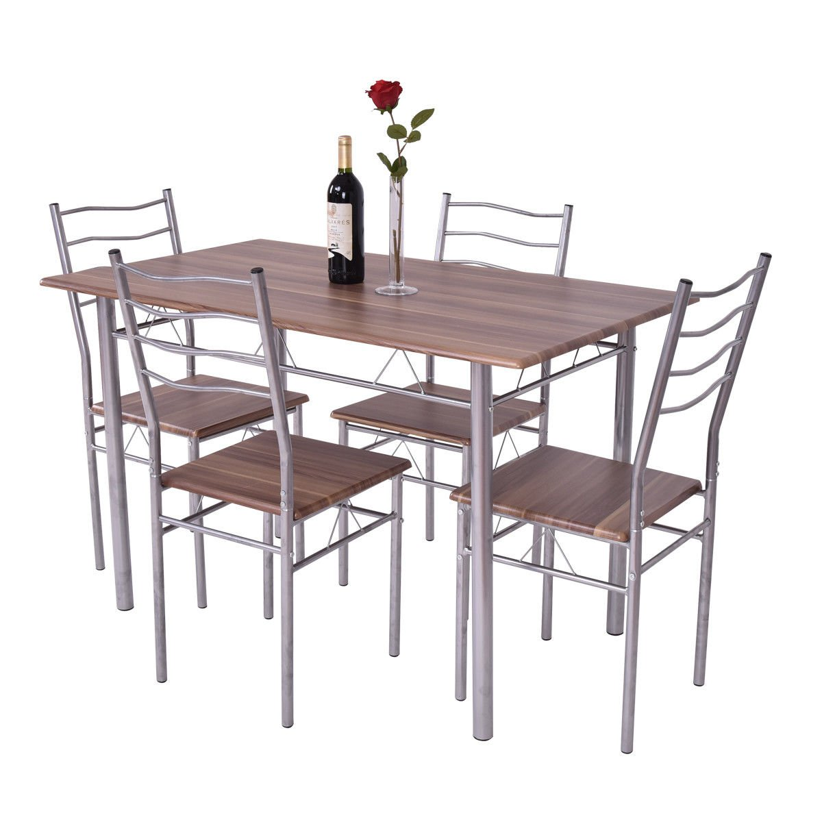 Beau Amazon.com   Giantex Modern 5 Piece Dining Table Set For 4 Chairs Wood  Metal Kitchen Breakfast Furniture (Shallow Walnut)   Table U0026 Chair Sets