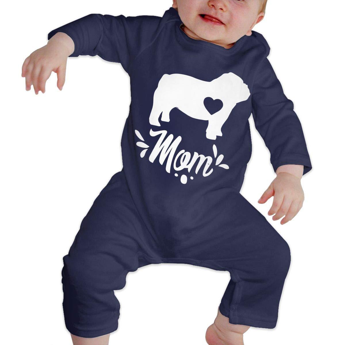 LBJQ8 English Bulldog Dog Mom Infant Girls Boys Organic Cotton Bodysuit Sleepwear