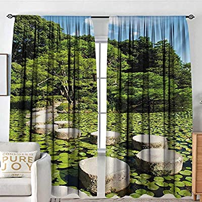 NUOMANAN Rod Pocket Blackout Curtain Zen,Stone Path in Japanese Garden Lake with Lotus Leaves Meditation Nature Scenery,Lime Green Sky Blue,Decor/Room Darkening Window Curtains 84
