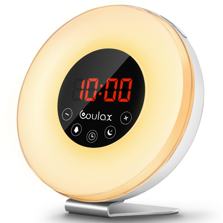 Coulax Lichtwecker Wake Up Licht Wecker Nachtlicht mit Intelligente Schlummerfunktion, Nachttisch Licht, 7 Farblicht, 6 Helligkeitsstufen, FM Radio, Fackelsteuerung und USB Ladegerät (Neue Version) product image