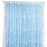 Ameesi Pastoral Floral Voile Window Door Curtain Balcony Valances Drape Panel Sheer - Blue