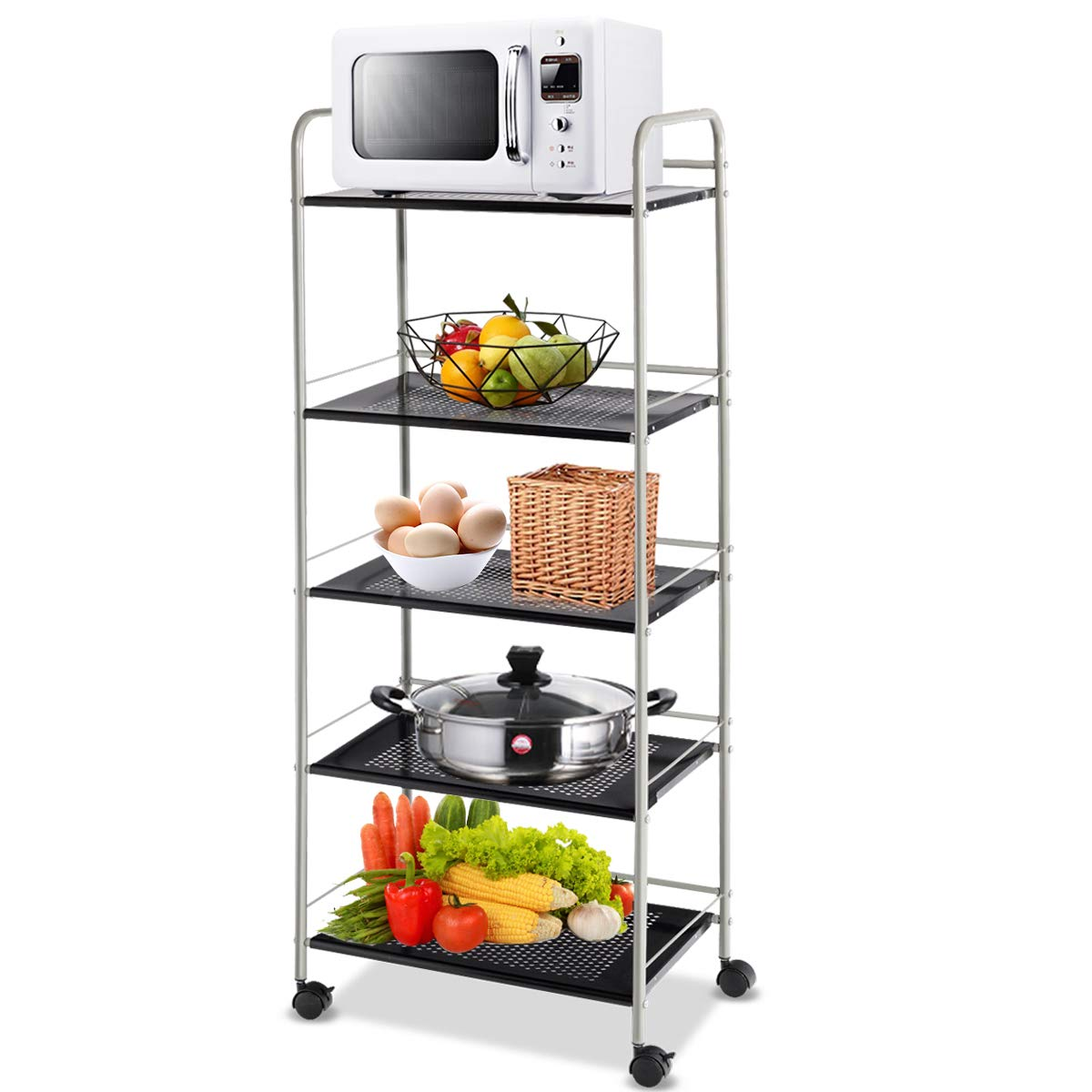 Giantex Kitchen Baker's Rack Trolley Cart Microwave Rack 5-Tier Rolling Utility Cart Steel Storage Shelf Rack with Lockable Casters, for Kitchen Warehouse Garage Salon Bathroom Shelving Organizer