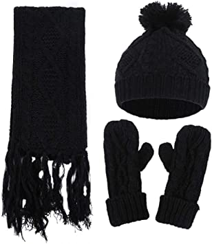 EnjoCho Hat Scarf Gloves 3pcs Sets Autumn Winter Women's Hat Caps Knitted Warm Scarf Windproof Cute Multifunctional Scarf for Girls Women(Black)