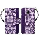 ZASE Design Wallet Protective Case for Samsung Galaxy J7 Star,J7v 2nd Gen,J7 2018,J7 Refine, J7 2018 Premium PU Leather Flip Cover w/[Kickstand] ID Pocket [Wrist Strap] (Lavender Purple)