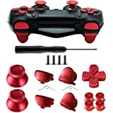 TOMSIN Metal Buttons for DualShock 4, Aluminum Metal Thumbsticks Analog Grip & Bullet Buttons & D-pad & L1 R1 L2 R2…