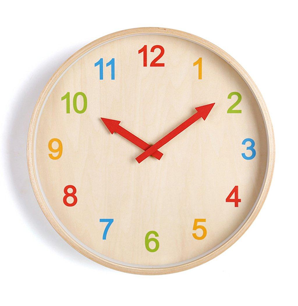 AODISHA 幼稚園サイレントウォールクロック、ガーデンフラワーショップ寝室リビングルームレストラン遊び場教室子供部屋壁時計ソリッドウッド壁時計25.6-40.8CM より多くの装飾を取る (色 : A, サイズ さいず : 35.8 * 35.8CM) B07FS2XMG5 35.8*35.8CM|A A 35.8*35.8CM