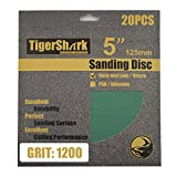 TigerShark 5inch No Hole Film Sanding discs Hook and Loop Wet & Dry Grit 1200 20pcs Pack Super Fine