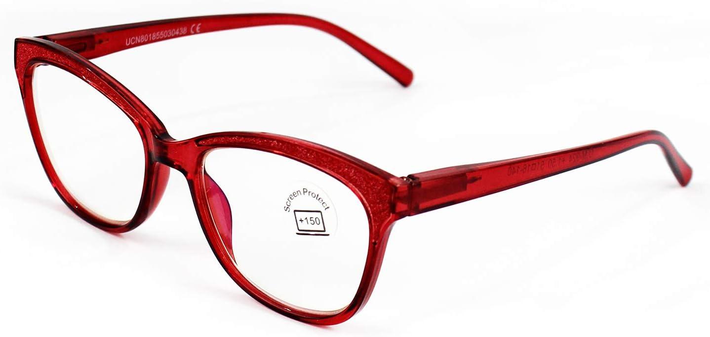 Gafas Lectura Protección Anti Luz Azul y Fatiga, Graduadas Dioptrías +1.00 hasta +4.00, con Montura de Pasta, Bisagras de Resorte, Para Leer, Unisex (+350, 924 rojo)