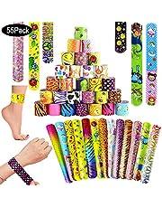 SPECOOL Braccialetti Slap 55Pcs Slap Bracelets Gadget Bracciali a Scatto per Festa Compleanno Birthday Bomboniere Party Supplies Favors per Bambini, Ragazze e Ragazzi