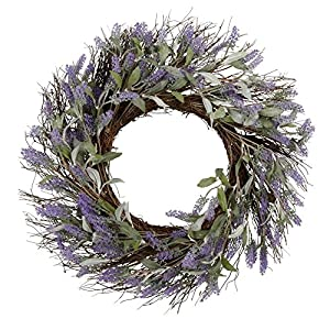 hm 24 Inch Lavender Wreath Spring Floral Front Door Wreath Lavender Flower Hanging Wall Window Decoration Home Office Easter Holiday Festive Decor 4