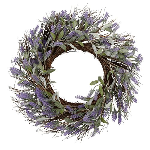 hm 24 Inch Lavender Wreath Spring Floral Front Door Wreath Lavender Flower Hanging Wall Window Decoration Home Office Easter Holiday Festive Decor