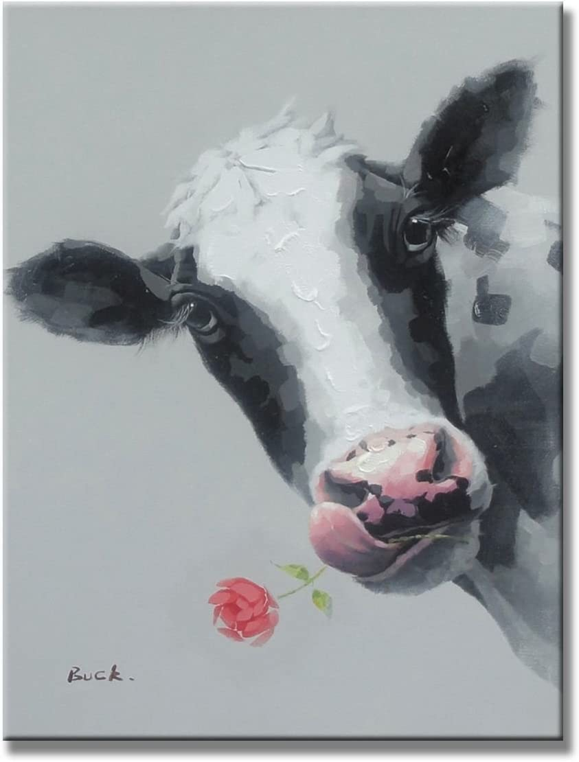 Cute Cow Animal Paintings 100 Handpainted Canvas Oil Paintings Wood Stretched Home Decor Ready to Hang 20×24 50x60cm