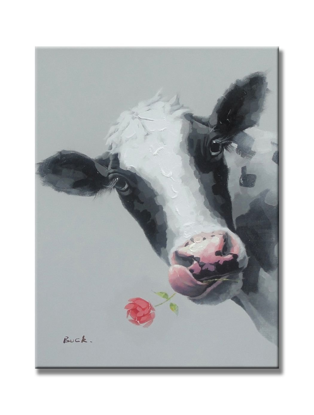 Cute Cow Animal Paintings 100% Handpainted Canvas Oil Paintings Wood Stretched Home Decor Ready To Hang 20x24'' (50x60cm)