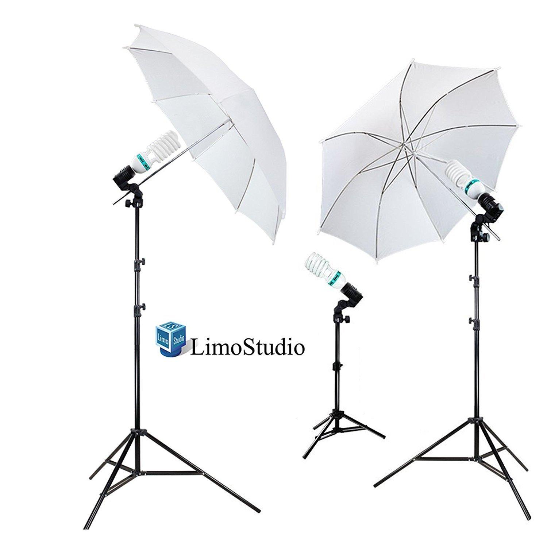 LimoStudio 1000 Watt Photography Studio Umbrella Cool Fluorescent Continuous Lighting Kit Set 3 Light Stands 3 Bulbs AGG341