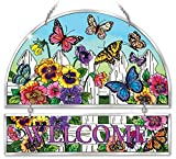Cheap Amia 41709 Beveled Hand-Painted Glass Welcome Panel, 11 by 12-Inch, Pansy and Butterfly Design