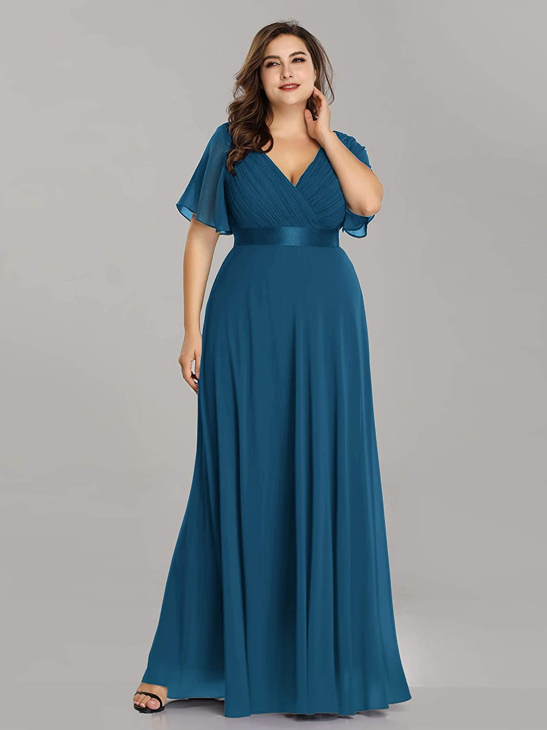Ever-Pretty Womens Plus Size Double V-Neck Evening Party Maxi Dress 09890