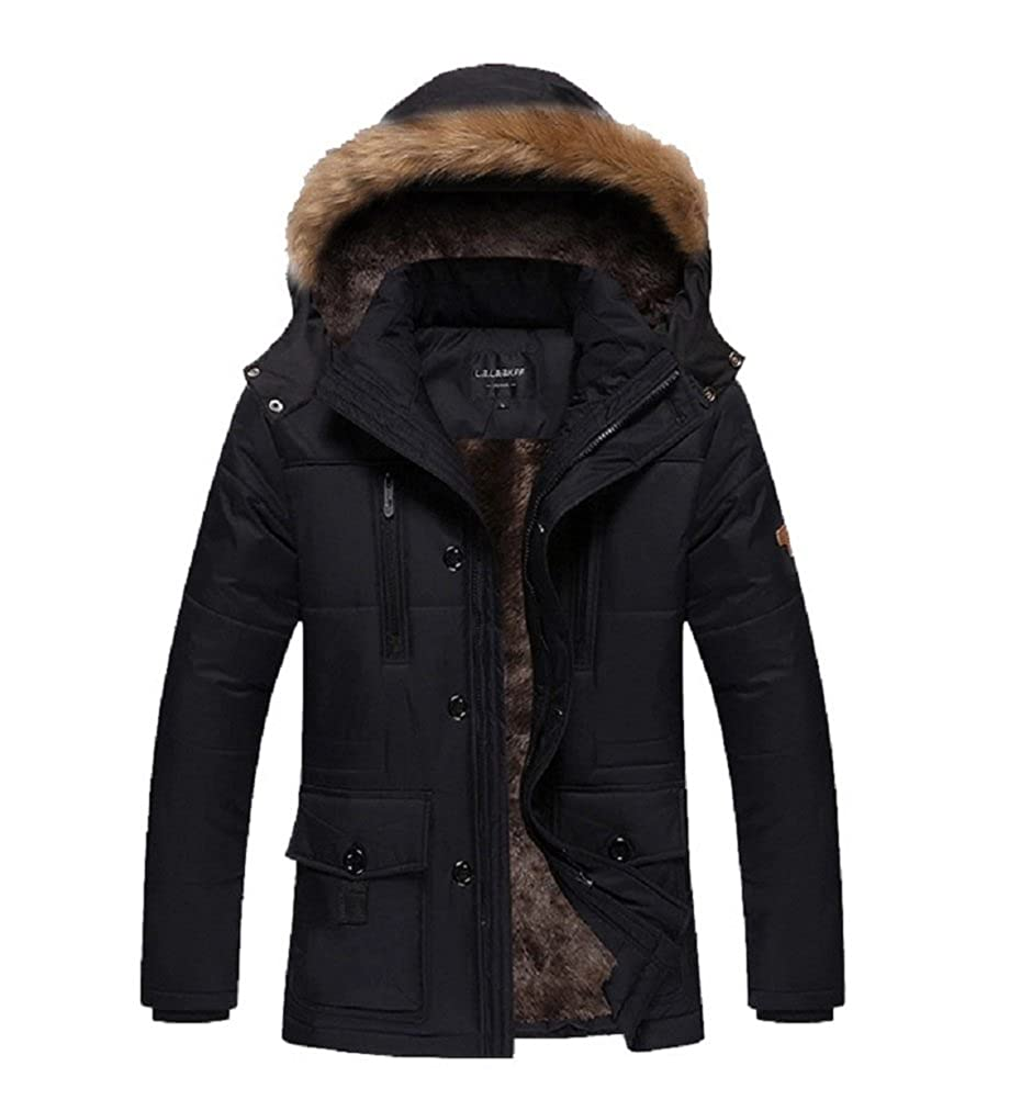 Bakerdani Button Cotton-padded Warm High Collar Removable Hood with Velvet Coat