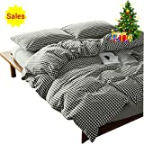 Black and White Duvet Set OTOB 100 Cotton Black and White Gingham Plaid Print Duvet Cover Set Simple Modern Geometric Grid Checkered Bedding Set for Kids Adults Boys Girls Teen,Soft and Easy Care,Fade Resistant,Queen Full Size