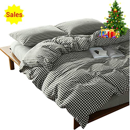 OTOB 100 Cotton Black and White Gingham Plaid Print Duvet Cover Set Simple Modern Geometric Grid Checkered Bedding Set for Kids Adults Boys Girls Teen,Soft and Easy Care,Fade Resistant,Queen Full Size -