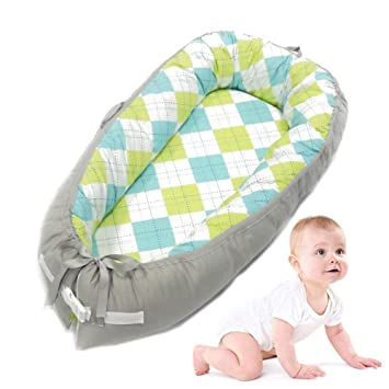 Baby Lounger//Nest//Bed Volwco Infant Co-Sleeping Newborn Baby Bassinet Snuggle Bed Nest 100/% Cotton Breathable Soft Portable Crib Mattress for Bedroom Travel
