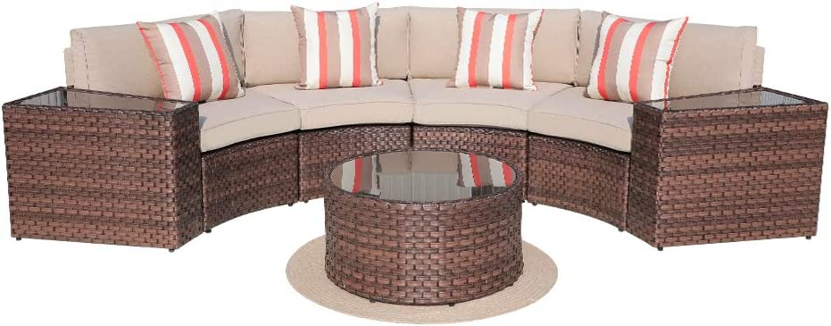 Sunsitt Outdoor 7 Piece Half Moon Sectional All Weather Woven Sectional Set W Round Coffee Table Patio Curved Sofa Set W Beige Olefin Fabric Cushions