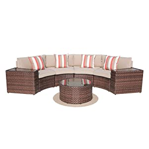 SUNSITT Outdoor 7-Piece Half-Moon Sectional All Weather Woven Sectional Set w/Round Coffee Table, Patio Curved Sofa Set w/Beige Olefin Fabric Cushions & Brown Wicker