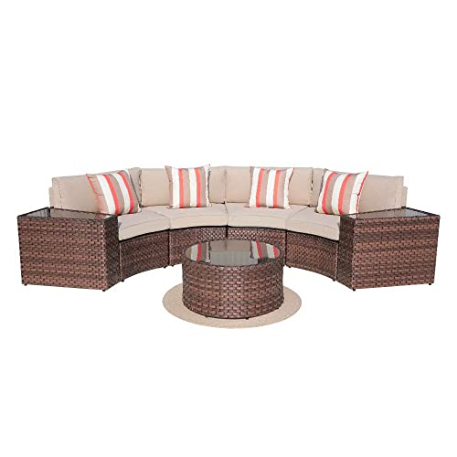 SUNSITT Outdoor 7-Piece Half-Moon Sectional All Weather Woven Sectional Set w Round Coffee Table, Patio Curved Sofa Set w Beige Olefin Fabric Cushions Brown Wicker