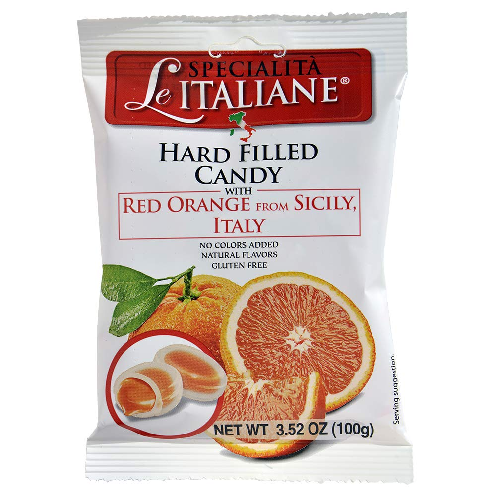 Serra Le Italiane, Italian Natural Hard Candy Filled With Red Orange From Sicily Italy, 3.5 Ounce