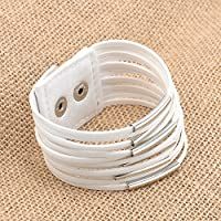 ERAWAN Vintage Punk Women Men Leather Multilayer Wrap Cuff Bangle Bracelet Jewelry Gift EW sakcharn (White)