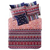 3 Piece Plum Purple Pink Orange Bright Colorful Bohemian Duvet Cover Queen Set, Abstract Floral Southwest Bedding Rich Deep Fushsia Green Navy Turquoise Hippie Indie Hippy, Cotton