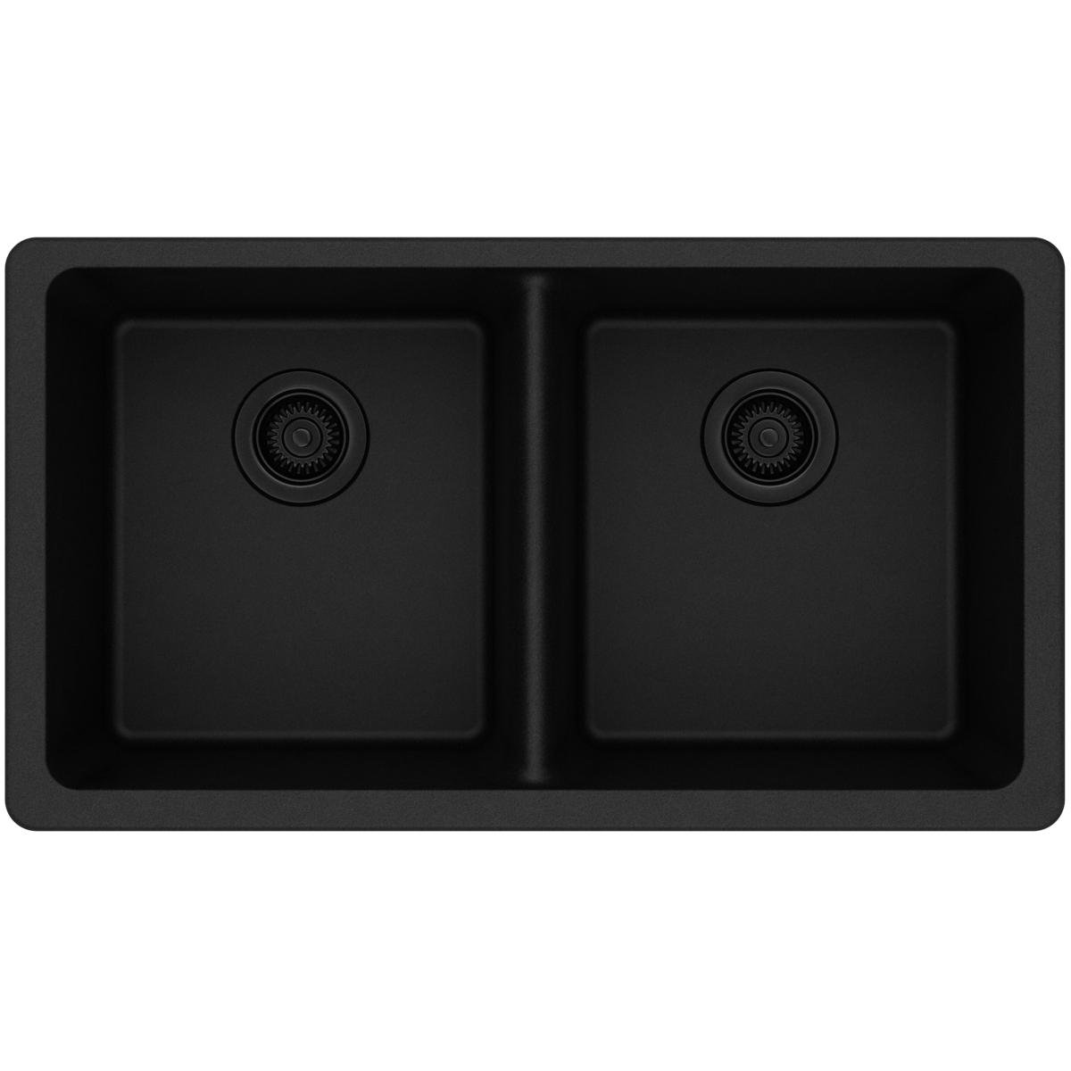 Elkay Quartz Classic ELGU3322BK0 Black Equal Double Bowl Undermount Sink