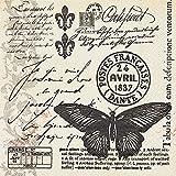 20 Servietten Butter-fly-mail – Schmetterlingspost / Vintage 33x33cm